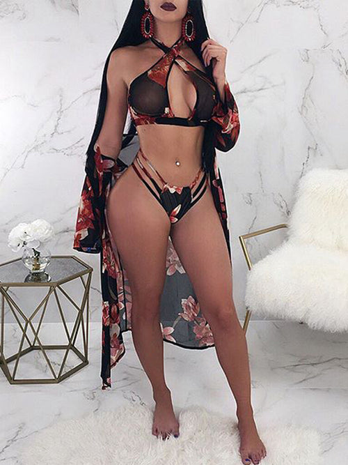 Sexy Print Three Pieces Swimsuit