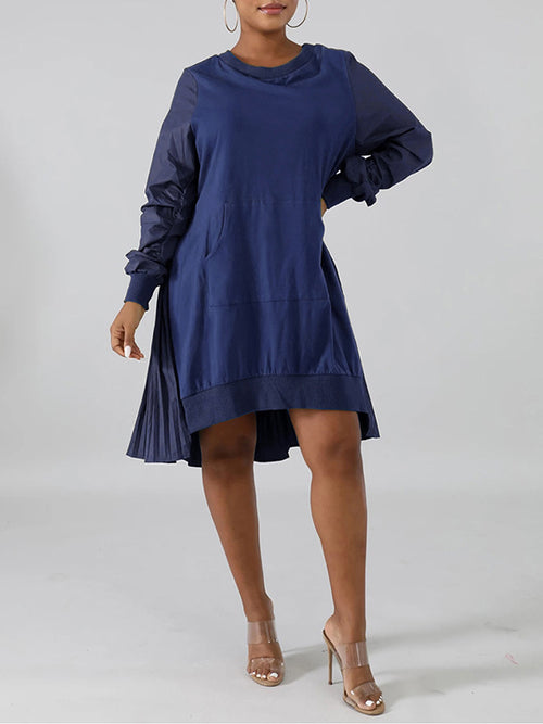 Asymmetric Hem Patchwork Pleated Dress