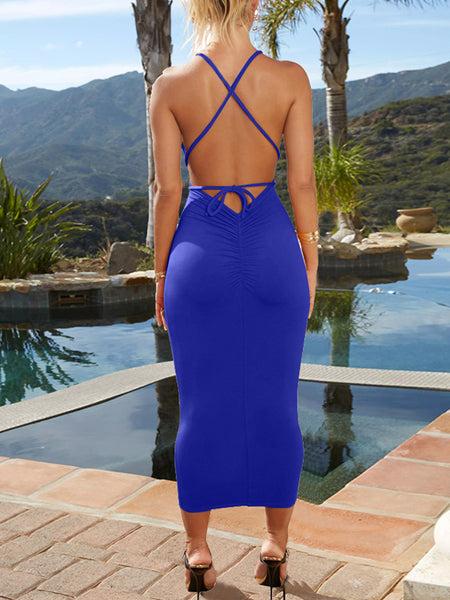 Sexy Solid Backless Bandage Deep V-neck Midi Dress
