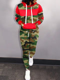 Camouflage Printed Hooded Collar Top & Pants