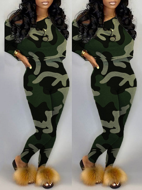 Camouflage Print Skew Neck Two Piece Sets