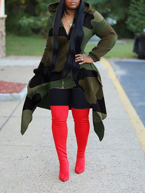Camouflage Print Hooded Irregular Hem Coat