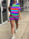 Rainbow Striped Plus Size Two Piece Sets