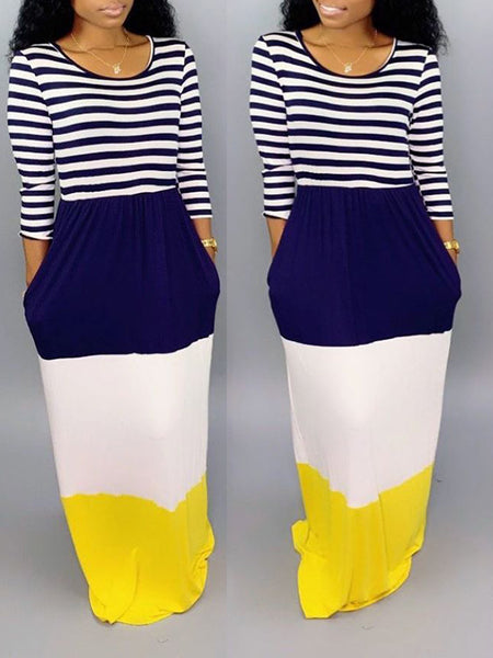 Striped Color Block Long Sleeve Maxi Dress
