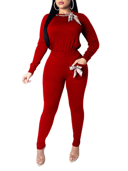 Long Sleeve Solid Color Turtleneck Casual Two Piece Sets
