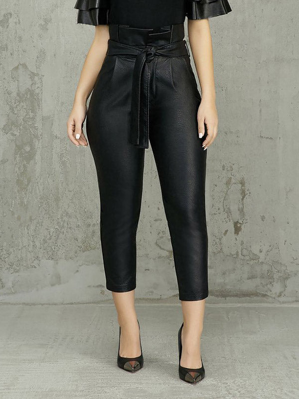 Thicken Leather Belted High Waist Solid Color PU Pencil Pants