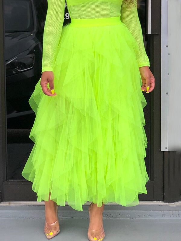 Ruffled Solid Color Net Yarn Maxi Skirt
