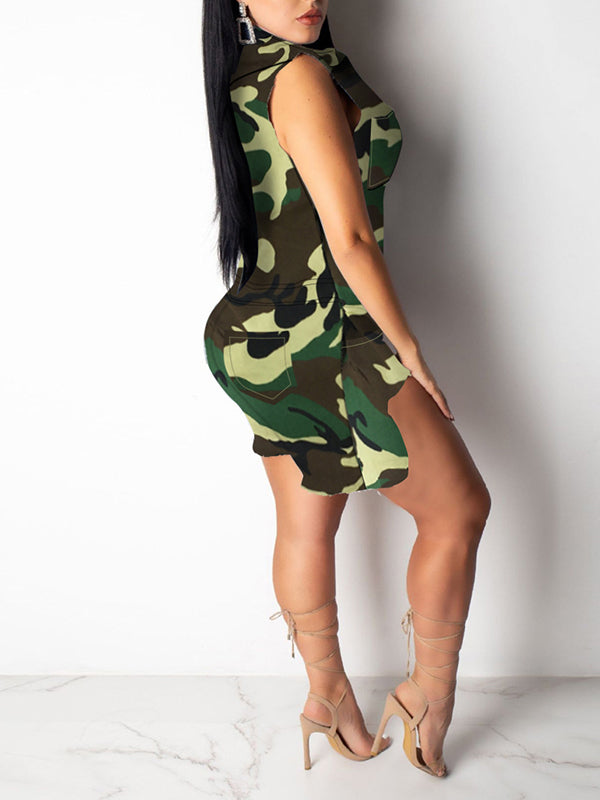 Camouflage Print Distressed Pocket Romper