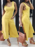 Open Back Solid Color Sleeveless Pocket Jumpsuit