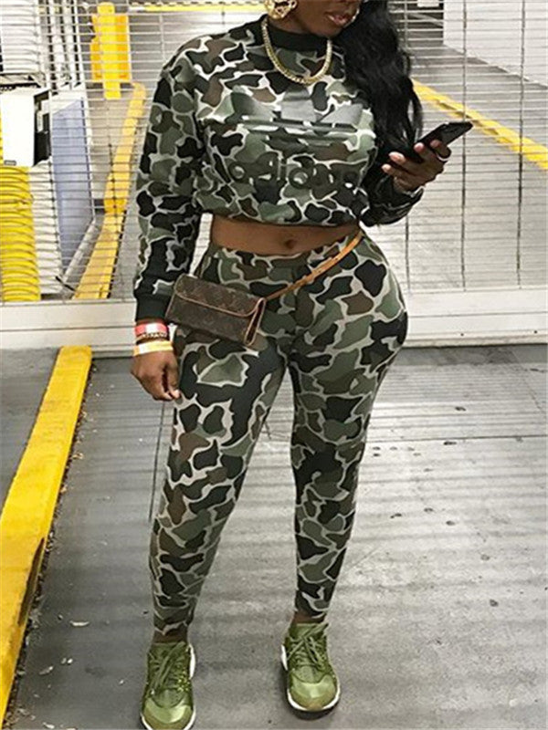Camouflage Long Sleeve Drawstring Two Piece Outfits