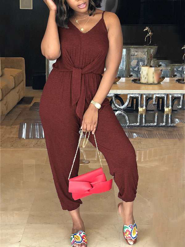 Sleeveless Solid Color Casual Jumpsuit
