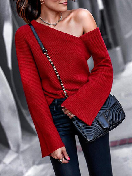 Knitted Off One Shoulder Solid Color Flare Sleeve Casual Blouse
