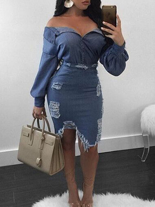 Hole Lantern Sleeve Off The Shoulder Denim Two Piece Dress