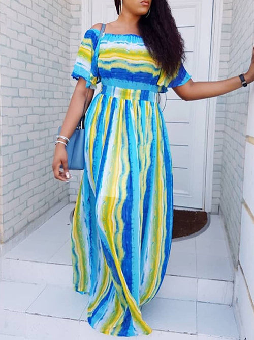 Stripe Off The Shoulder High Waist Maxi Dress