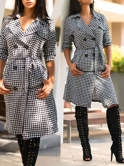 Lattice Print Button Wide Lapel Belted Long Sleeve Winter Coat