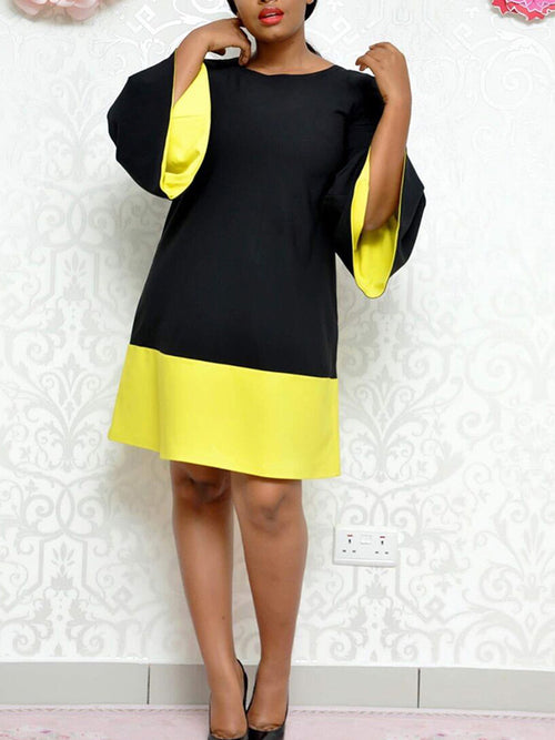 Lace Up Back Flare Sleeve Color Block Midi Dress