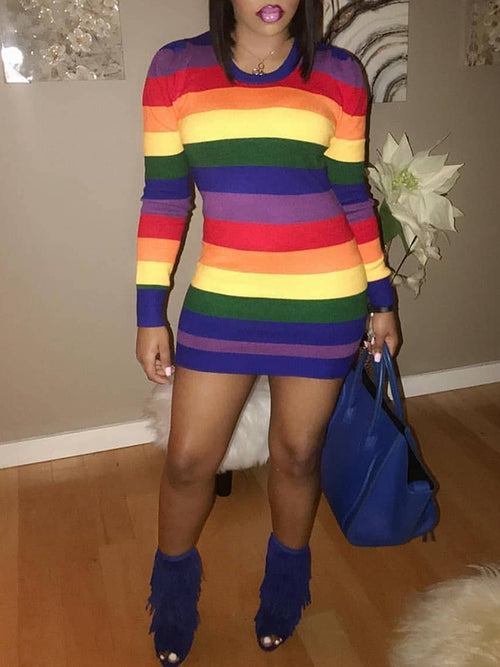 Rainbow Striped Round Neck Long Sleeve Casual Mini Dress