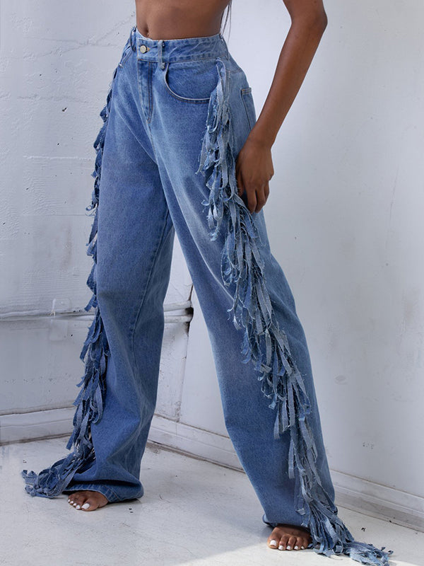 Denim Plus Size Side Tassels Pocket Jeans