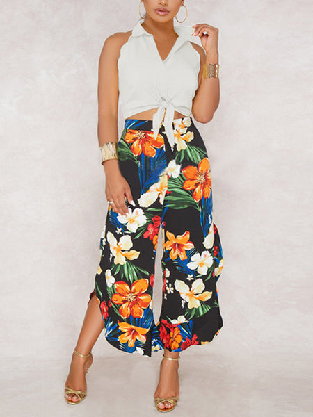 Sleeveless Solid Color Tops & Printed Wide Leg  Pants