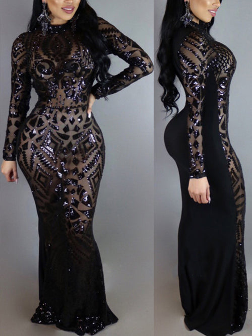 Long Sleeves Skinny Sequins Maxi Dress