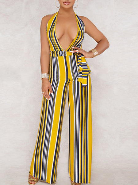 Deep V Neck Stripe Sleeveless Jumpsuit