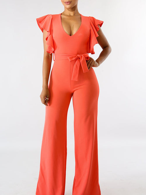 Solid Color Ruffle Sleeve High Waist Jumpsuit
