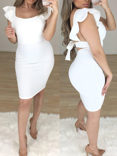 Solid Color Ruffle Bodycon Dress