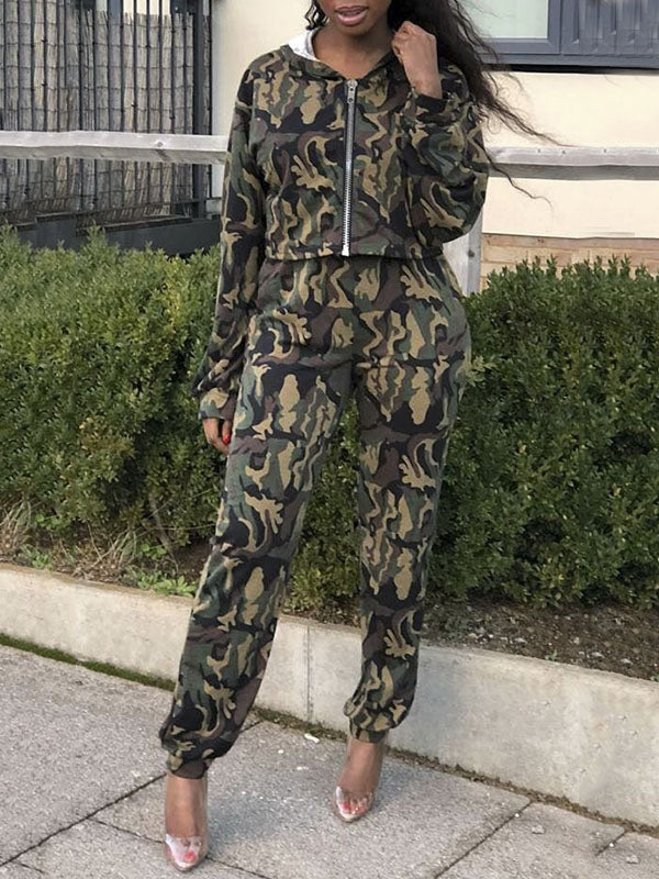 Camouflage Print Hooded Collar Zipper Up Long Sleeve Two Piece Outfits