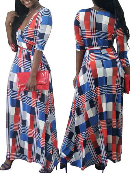 V Neck Long Sleeve Plaid Belted Maxi Dress