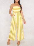 Plus Size Off The Shoulder Stripe Pocket Jumpsuit