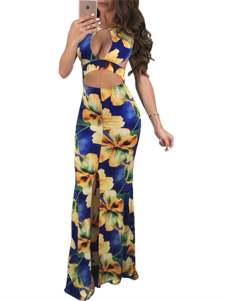 Open Back Flower Print Sleeveless Maxi Dress