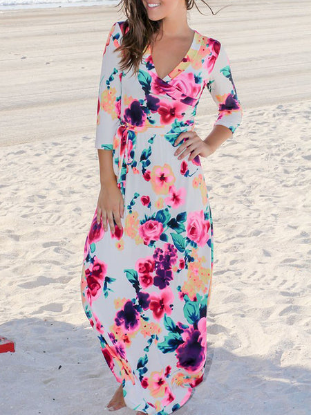 Mixed Color Printed V Neck Dress