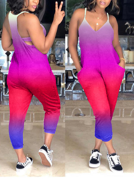 Mixed Color Pocket V-Neck Sleeveless Casual Jumpsuit