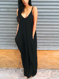 Solid Casual Strap Long Dress