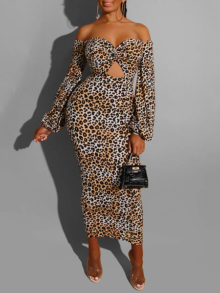 Leopard Print Lantern Sleeve Pierced Dress
