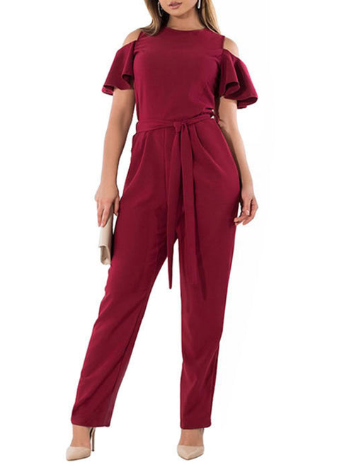 Plus Size Solid Color Belted Cold Shoulder Ruffle Jumpsuit