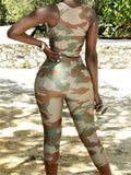 Plunging Neckline Camouflage Tie Up Two Piece Sets