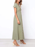 Short Sleeve Button Solid Color V Neck Maxii Dress