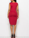 Solid Color V Neck Zipper Sleeveless Dress