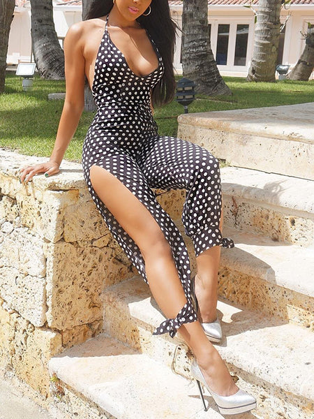 Sleeveless Polka Dot Slit Jumpsuit