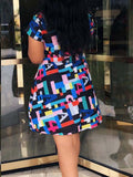 Mixed Color Printed Short Sleeve A Line Dress