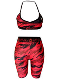 Camouflage Print Sleeveless Patchwork Two Piece Swimwear