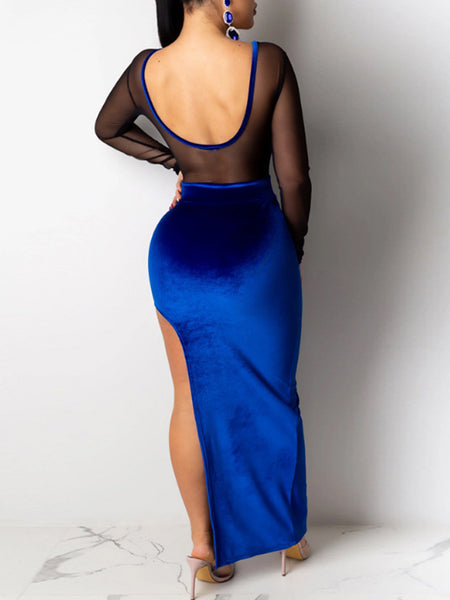 See-through Open Back Side Slit Maxi Dress