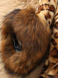 Plus Size Faux Fur Collar Leopard Print Coat