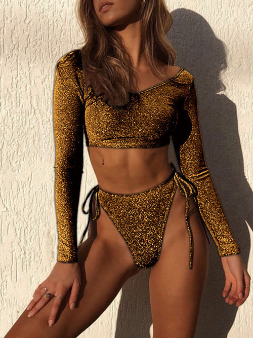 High Waist Lace Up Long Sleeve Two Piece Swimwear