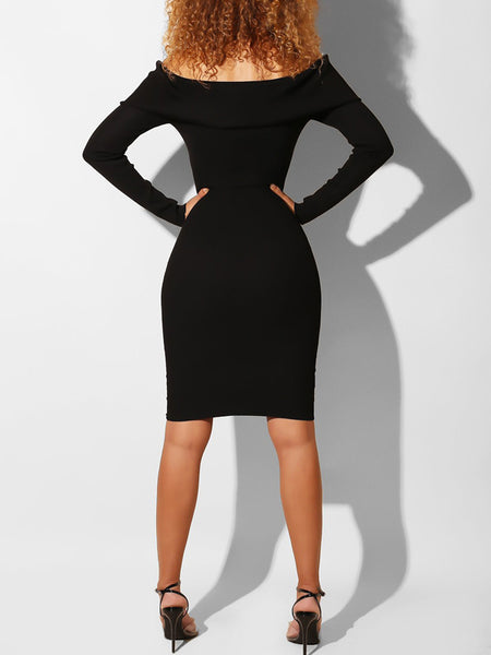Solid Rib Off The Shoulder Casual Midi Dress