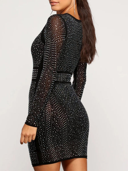 Hot Drilling See-through Long Sleeve Mini Dress