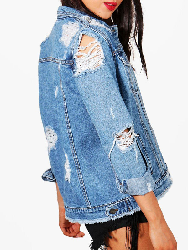 Denim Fashion Casual Hollow Out Jacket