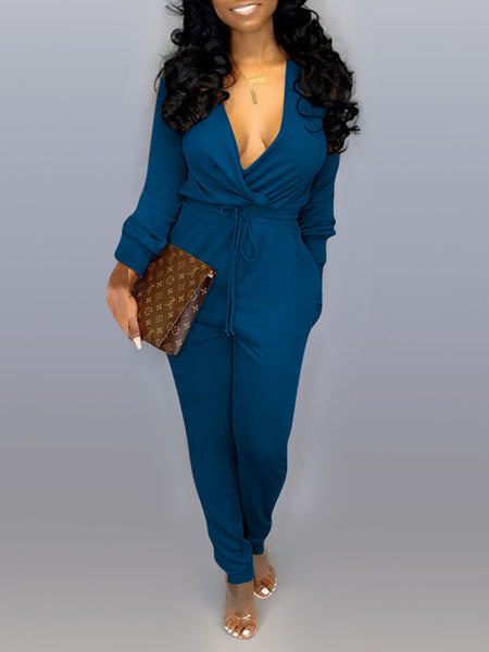 Deep V Neck Drawstring Waist Long Sleeve Jumpsuit