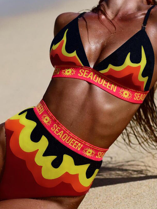 High Waist Letter Print Two Piece Swimwear